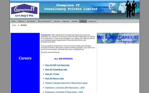 Screenshot of Jobs Page championsit.com - sap careers recruiters gurgaon delhi ncr noida - captured Oct. 2, 2014