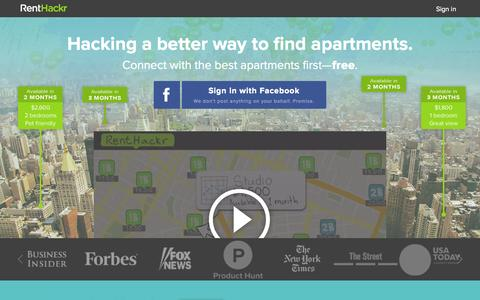 Screenshot of Home Page renthackr.com - RentHackr: Find the best apartments first - captured Oct. 1, 2015