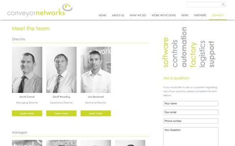 Screenshot of Team Page conveyornetworks.co.uk - Conveyor Networks Team   contact us   factory and warehouse logistics experience - captured Nov. 2, 2014