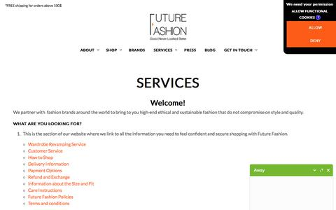 Screenshot of Services Page futurefashion.me - SERVICES > Future Fashion - captured Oct. 14, 2017