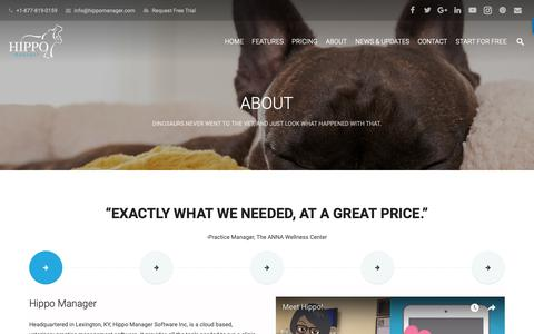 Screenshot of About Page hippomanager.com - ABOUT US - Hippo Manager Veterinary Practice Management Software - captured Sept. 29, 2018