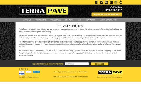 Screenshot of Privacy Page terrapave.com - Privacy Policy - captured Nov. 16, 2017
