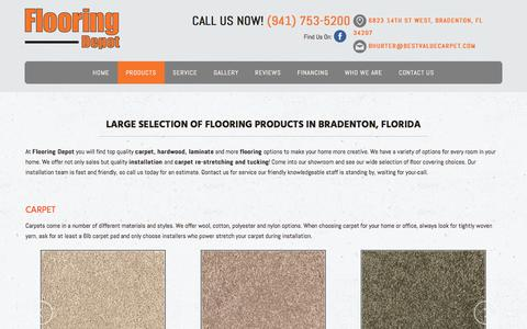 Screenshot of Products Page bestvaluecarpet.com - Flooring Products - Bradenton, FL – Flooring Depot - captured Feb. 3, 2018
