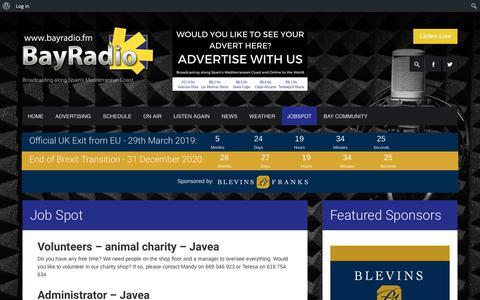 Screenshot of Jobs Page bayradio.fm - Job Spot  Bay Radio - captured Oct. 5, 2018