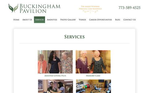 Screenshot of Services Page buckinghampavilion.com - Services - Buckingham Pavilion - Assisted Living and Memory Care - Chicago, Illinois - captured Aug. 4, 2018