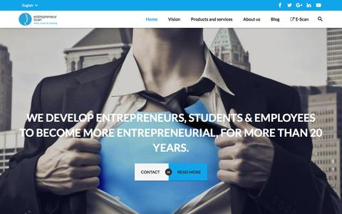 Screenshot of Home Page entrepreneurscan.com - Entrepreneur Scan develops entrepreneurship for more than 20 years - captured Jan. 26, 2017
