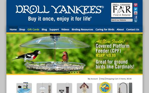 Screenshot of Home Page drollyankees.com - Bird Feeders & Accessories | Droll Yankees - captured Sept. 23, 2014