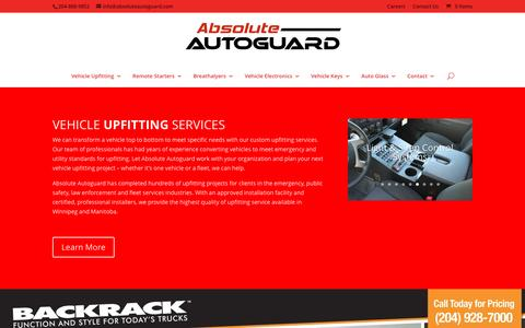 Screenshot of Home Page absoluteautoguard.com - Vehicle Upfitting, Remote Starters & Auto Security - Absolute Autoguard - captured May 28, 2017