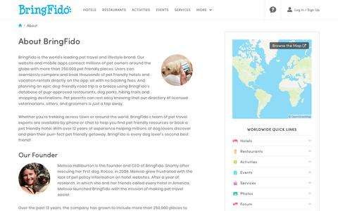 Screenshot of About Page bringfido.com - About BringFido.com - captured Sept. 22, 2018