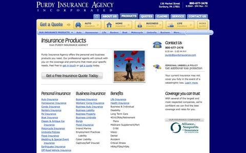 Screenshot of Products Page purdyinsurance.com - Pennsylvania Insurance Products from Purdy Insurance Agency Sunbury, Pennsylvania - captured Oct. 3, 2014