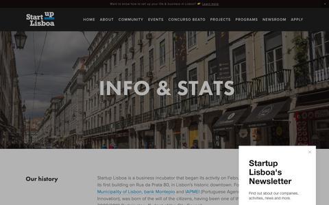 Screenshot of About Page startuplisboa.com - Info & Stats — Startup Lisboa - captured Nov. 5, 2018