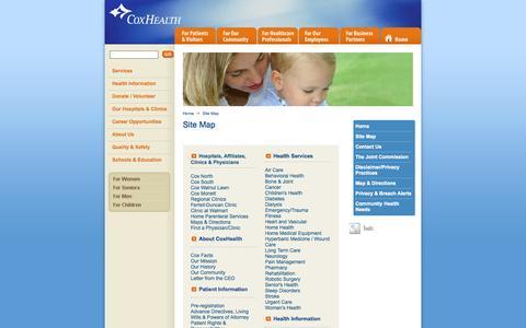 Screenshot of Site Map Page coxhealth.com - Site Map - captured Sept. 19, 2014
