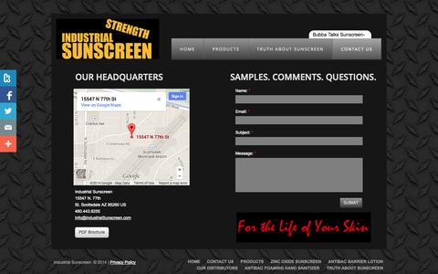 Screenshot of Privacy Page Contact Page industrialsunscreen.com - Industrial Sunscreen | Contact Us - captured Oct. 23, 2014