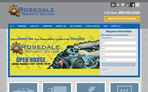 Screenshot of Home Page rosedaletech.org - Pittsburgh Automotive, Diesel, HVAC, and Career Training School | Rosedale Technical College - captured Oct. 6, 2014