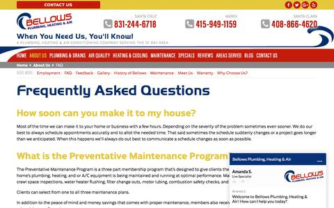 Screenshot of FAQ Page bellowsservice.com - FAQ About Bellows Plumbing, Heating & Air in Santa Cruz and San Rafael, CA - captured June 19, 2018