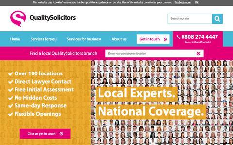Screenshot of Home Page qualitysolicitors.com - Solicitors in over 100 locations - QualitySolicitors - captured Dec. 7, 2018