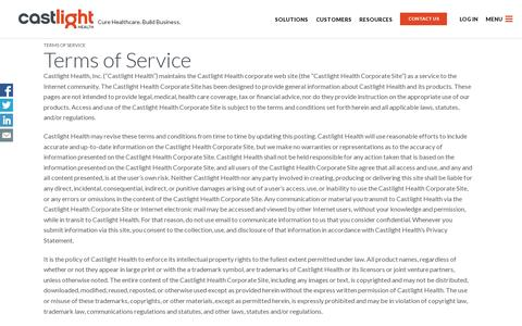 Screenshot of Terms Page castlighthealth.com - Terms of Service | Castlight Health - captured July 18, 2014