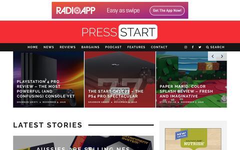 Screenshot of Home Page press-start.com.au - Press Start Australia - Bringing The Best Of Gaming To Australia - captured Nov. 11, 2016