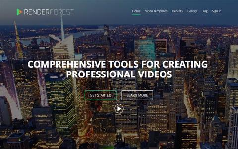 Screenshot of Home Page renderforest.com - Free Animation or Intro Maker, Slideshow and Video Creator | Renderforest - captured Feb. 19, 2016