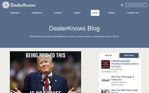 Screenshot of Blog dealerknows.com - Automotive Consulting and Training Questions and Answers | DealerKnows - captured Oct. 12, 2017