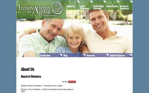 Screenshot of About Page innovationsinaging.org - About Us - captured Oct. 6, 2014