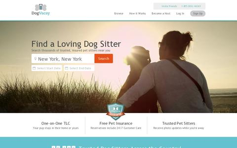 Screenshot of Home Page dogvacay.com - Dog Boarding Just Got Awesome! | DogVacay - captured July 17, 2014