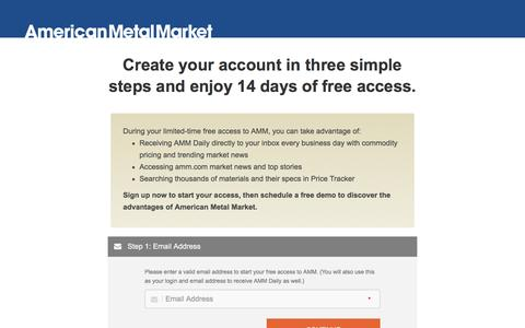Screenshot of Signup Page Trial Page amm.com - Free Trial | American Metal Market - captured Sept. 1, 2016