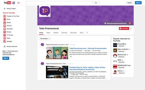 Screenshot of YouTube Page youtube.com - Todo Promocional  - YouTube - captured Nov. 4, 2014