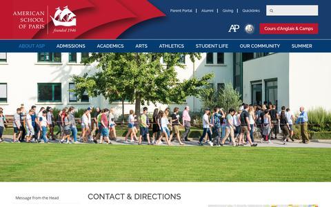 Screenshot of Contact Page asparis.org - Contact & Directions: American School of Paris, American international school - captured June 23, 2017