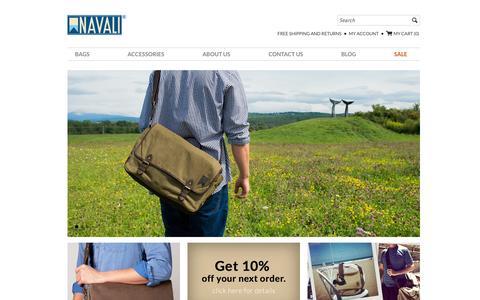 Screenshot of Home Page navali.com - Vintage Leather Bags and Wallets for Men – NAVALI - captured Sept. 30, 2014