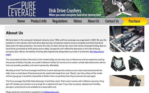 Screenshot of About Page purelev.com - Pure Leverage - Hard Drive Crusher - captured Oct. 3, 2014