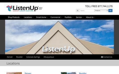 Screenshot of Locations Page listenup.com - ListenUp Locations | Denver | Boulder | Colorado Springs - captured Dec. 26, 2016