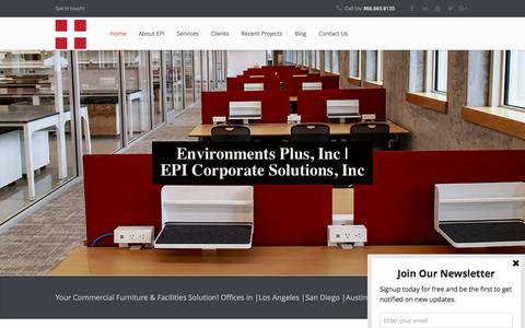 Screenshot of Home Page epi-usa.com - Office Furniture Installer | Office Relocation - Environments Plus, Inc. - captured July 20, 2018