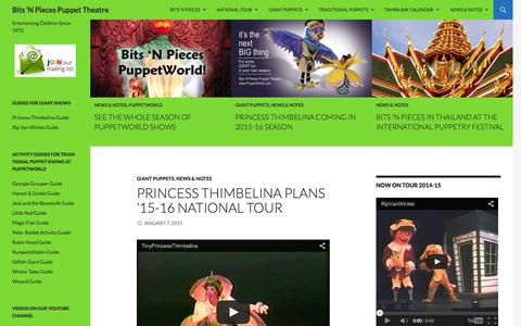 Screenshot of Home Page puppetworld.com - Bits 'N Pieces Puppet Theatre | Entertaining Children Since 1972 - captured Jan. 24, 2015