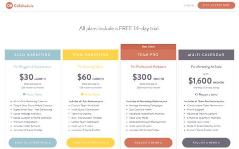 Screenshot of Pricing Page coschedule.com - CoSchedule Pricing  - CoSchedule - captured Feb. 19, 2017