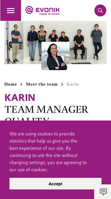 Screenshot of Team Page  evonik.com - Karin                                                                - Evonik Careers