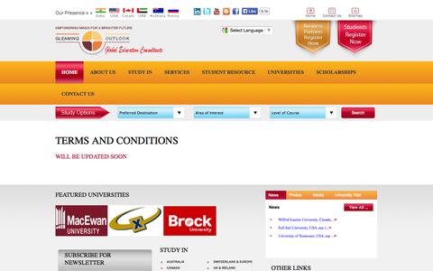 Screenshot of Terms Page gleamingoutlook.com - Terms and Condition – GO Overseas education consultancy - captured Oct. 2, 2014