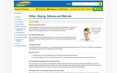 Screenshot of FAQ Page joycemayne.com.au - FAQs   Joyce Mayne Australia - captured Sept. 19, 2014