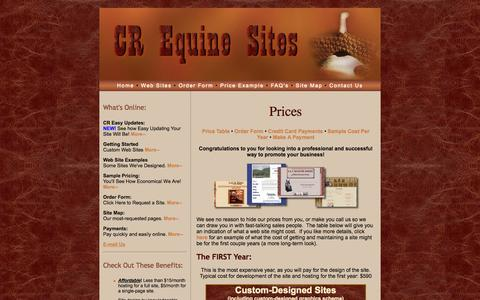 Screenshot of Pricing Page crequinesites.com - CR Equine Sites, Pricing - captured Sept. 26, 2014