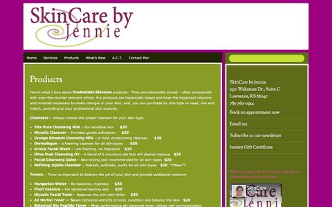 Screenshot of Products Page skincarebyjennie.net - Products | SkinCare by Jennie - captured Dec. 21, 2015