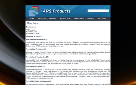 Screenshot of Maps & Directions Page arsproducts.com - Directions | ARS Products - captured Oct. 4, 2014