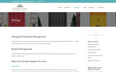 Screenshot of Pricing Page somersethillspropertymanagement.com - Pricing for Somerset HIlls Property Managment in Somerset County, NJ - captured Sept. 21, 2018