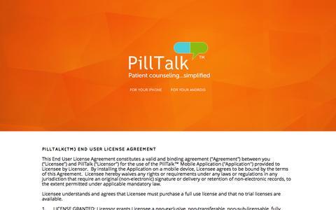 Screenshot of Terms Page pilltalk.com - Terms of Use - PillTalk - captured Sept. 29, 2014