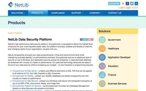 Screenshot of Products Page netlib.com - NetLib Encryption Products | NetLib/Encryptionizer - captured Aug. 15, 2016