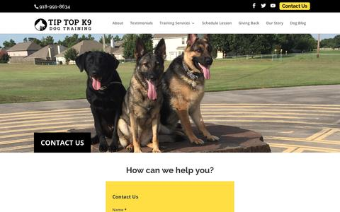 Screenshot of Contact Page tiptopk9.com - Contact Us | Tip Top K9 | Dog Training Tulsa - captured June 15, 2017