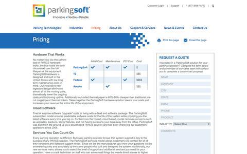Screenshot of Pricing Page parkingsoft.com - ParkingSoft Pricing - ParkingSoft - captured Sept. 19, 2014