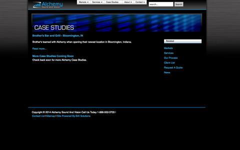 Screenshot of Case Studies Page alchemysoundandvision.com - Case Studies - captured Sept. 30, 2014