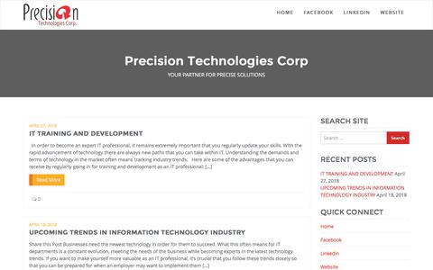 Screenshot of Blog precisiontechcorp.com - Precision Technologies Corp - captured Aug. 21, 2019