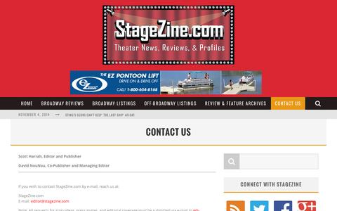 Screenshot of Contact Page stagezine.com - Contact Us - StageZine - captured Nov. 4, 2014