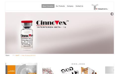 Screenshot of Home Page cinnagen.com - About CinnaGen - CinnaGen Co. - captured Jan. 26, 2015